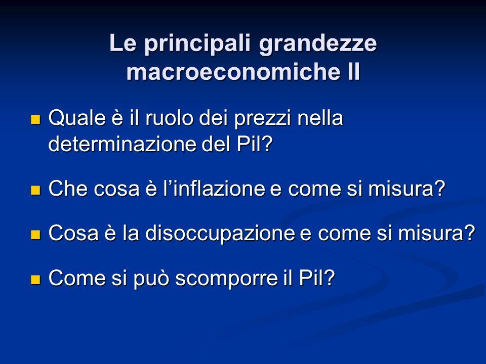 Le principali grandezze macroeconomiche II Quale è il ruolo dei prezzi nella determinazione del Pil? Quale è il ruolo dei prezzi nella determinazione