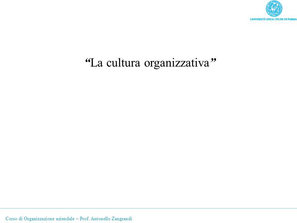 Corso di Organizzazione aziendale – Prof. Antonello Zangrandi La cultura organizzativa