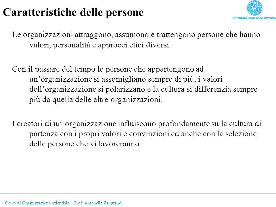 Corso di Organizzazione aziendale – Prof. Antonello Zangrandi Caratteristiche delle persone Le organizzazioni attraggono, assumono e trattengono perso