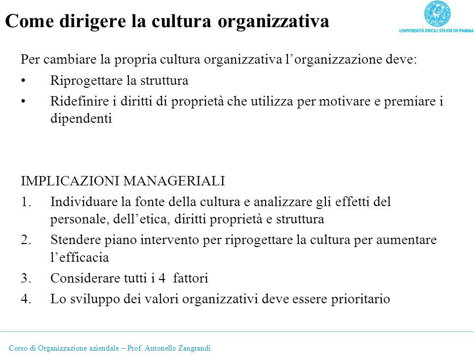 Corso di Organizzazione aziendale – Prof. Antonello Zangrandi Come dirigere la cultura organizzativa Per cambiare la propria cultura organizzativa lor