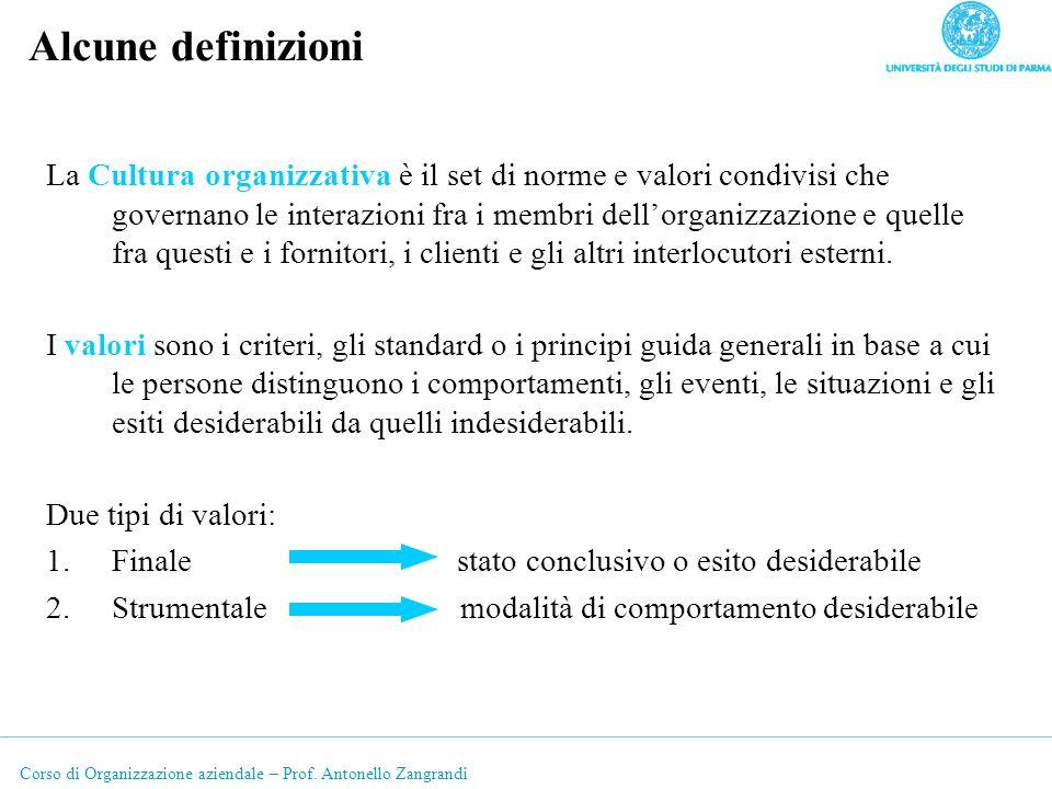 Corso di Organizzazione aziendale – Prof. Antonello Zangrandi Alcune definizioni La Cultura organizzativa è il set di norme e valori condivisi che gov