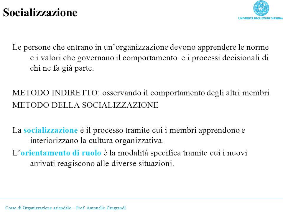 Corso di Organizzazione aziendale – Prof. Antonello Zangrandi Socializzazione Le persone che entrano in unorganizzazione devono apprendere le norme e