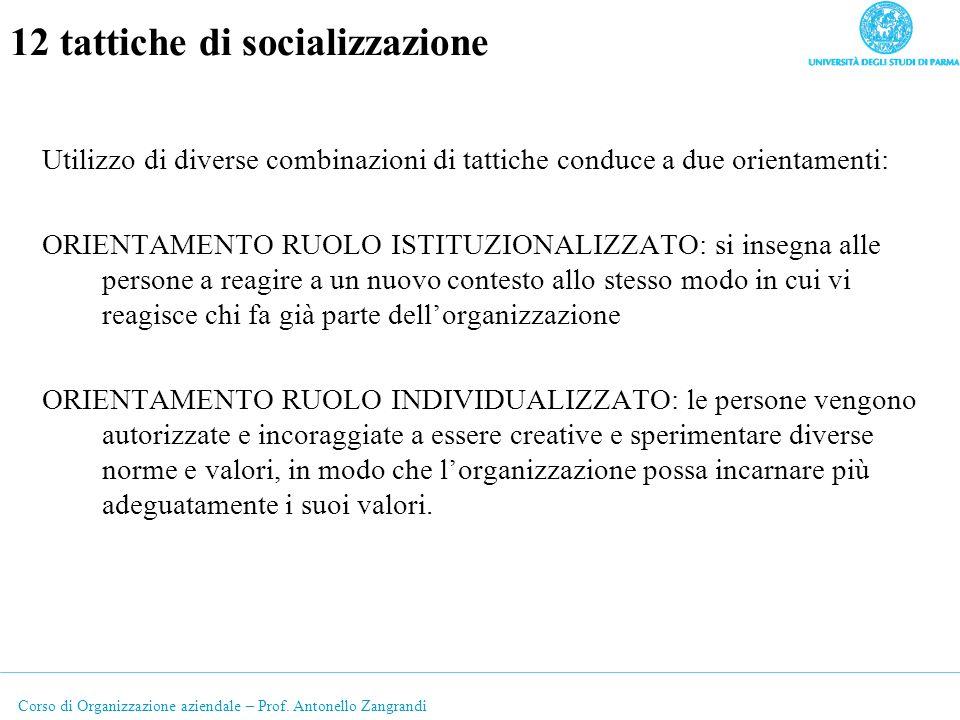 Corso di Organizzazione aziendale – Prof. Antonello Zangrandi 12 tattiche di socializzazione Utilizzo di diverse combinazioni di tattiche conduce a du