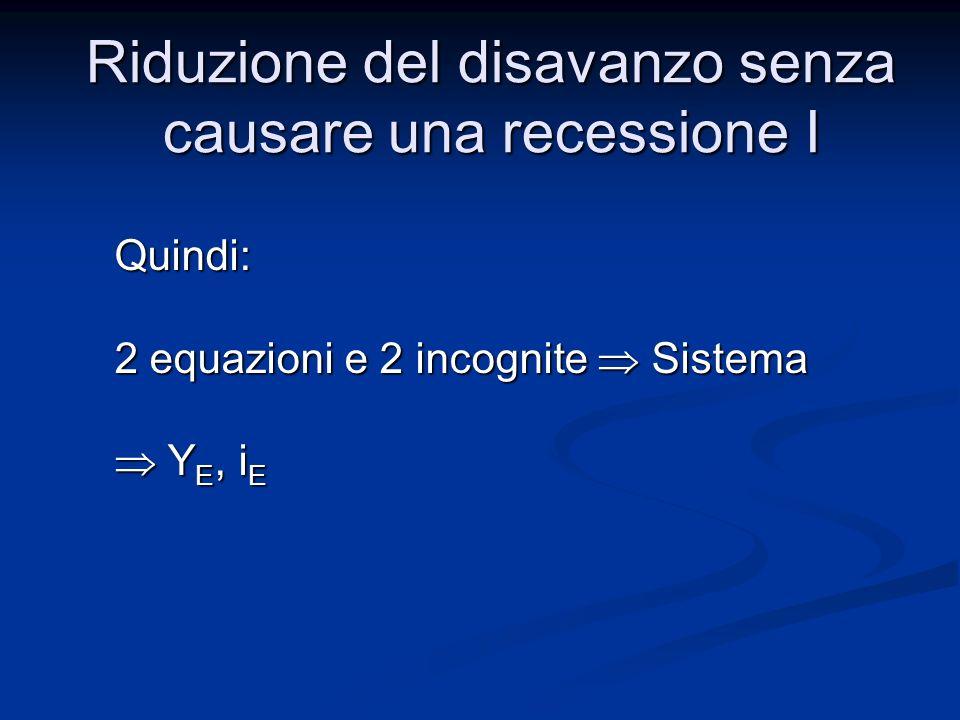 In questo caso: Y E,T, G dati (valori obiettivo) M S /P, i incognite IS = f(i) LM =g(M S /P,i) Riduzione del disavanzo senza causare una recessione I