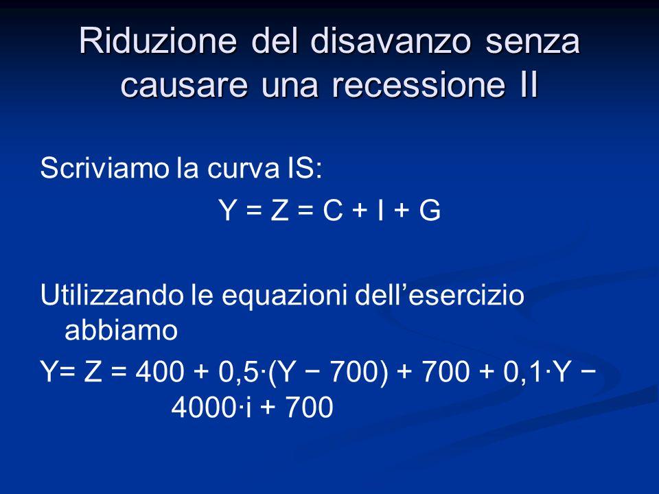 Riduzione del disavanzo senza causare una recessione II Sostituendo i valori obiettivo di Y, G e T otteniamo: 3375 = 400 + 0,5·(3375 700) + 700 + 0,1·3375 4000·i + 700 Da cui 3375 = 3475 4000·i Risolvendo per i ottengo i = 0,025 = 2,5%