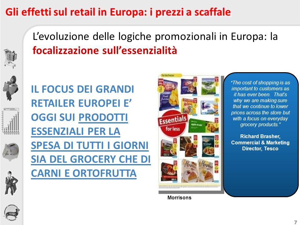 7 Gli effetti sul retail in Europa: i prezzi a scaffale Levoluzione delle logiche promozionali in Europa: la focalizzazione sullessenzialità The cost