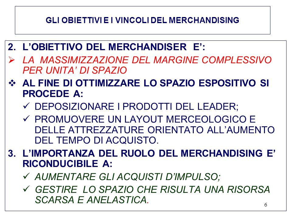 6 2.LOBIETTIVO DEL MERCHANDISER E: LA MASSIMIZZAZIONE DEL MARGINE COMPLESSIVO PER UNITA DI SPAZIO AL FINE DI OTTIMIZZARE LO SPAZIO ESPOSITIVO SI PROCEDE A: DEPOSIZIONARE I PRODOTTI DEL LEADER; PROMUOVERE UN LAYOUT MERCEOLOGICO E DELLE ATTREZZATURE ORIENTATO ALLAUMENTO DEL TEMPO DI ACQUISTO.