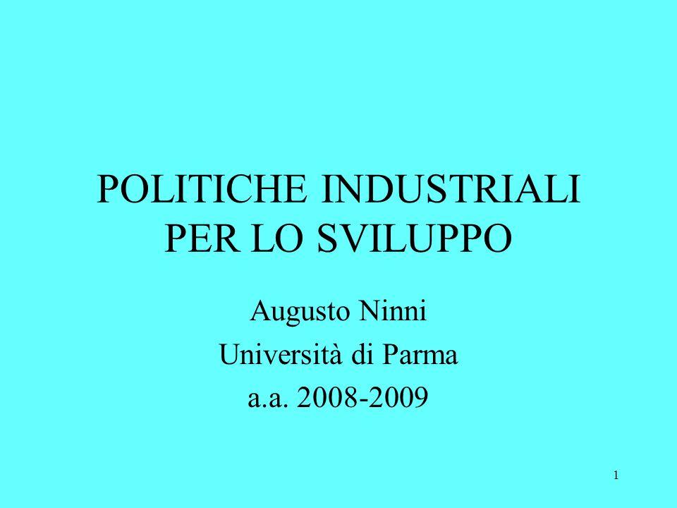 1 POLITICHE INDUSTRIALI PER LO SVILUPPO Augusto Ninni Università di Parma a.a. 2008-2009