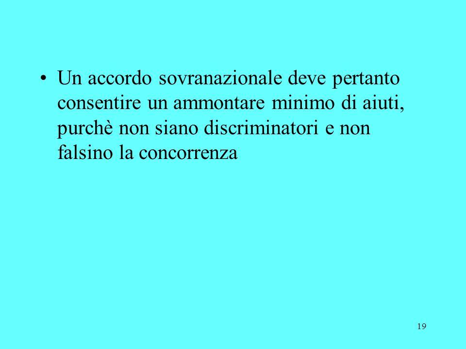 19 Un accordo sovranazionale deve pertanto consentire un ammontare minimo di aiuti, purchè non siano discriminatori e non falsino la concorrenza