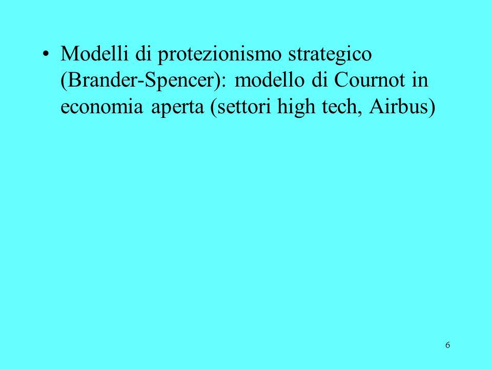 6 Modelli di protezionismo strategico (Brander-Spencer): modello di Cournot in economia aperta (settori high tech, Airbus)