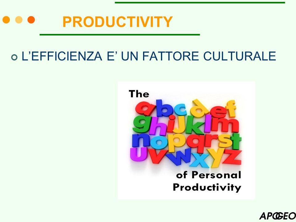 PRODUCTIVITY LEFFICIENZA E UN FATTORE CULTURALE