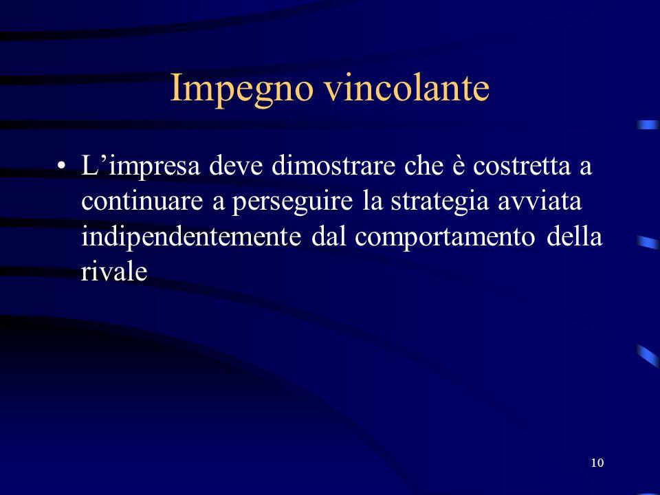 10 Impegno vincolante Limpresa deve dimostrare che è costretta a continuare a perseguire la strategia avviata indipendentemente dal comportamento dell