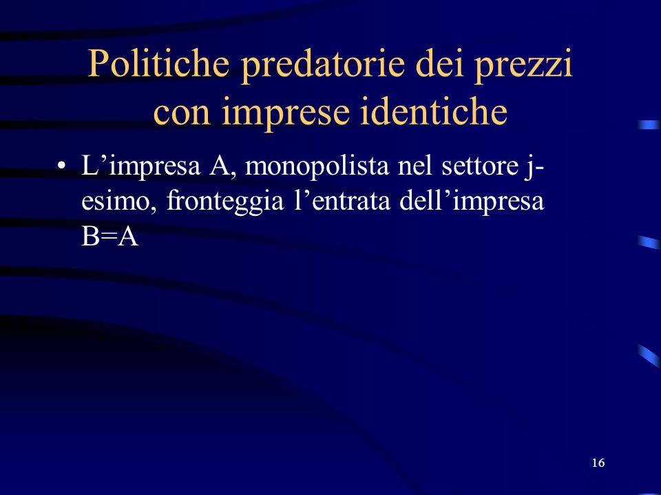 16 Politiche predatorie dei prezzi con imprese identiche Limpresa A, monopolista nel settore j- esimo, fronteggia lentrata dellimpresa B=A