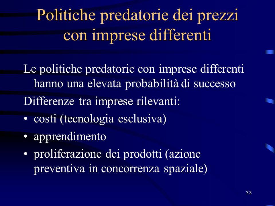 32 Politiche predatorie dei prezzi con imprese differenti Le politiche predatorie con imprese differenti hanno una elevata probabilità di successo Differenze tra imprese rilevanti: costi (tecnologia esclusiva) apprendimento proliferazione dei prodotti (azione preventiva in concorrenza spaziale)