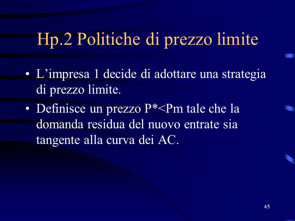 45 Hp.2 Politiche di prezzo limite Limpresa 1 decide di adottare una strategia di prezzo limite. Definisce un prezzo P*<Pm tale che la domanda residua