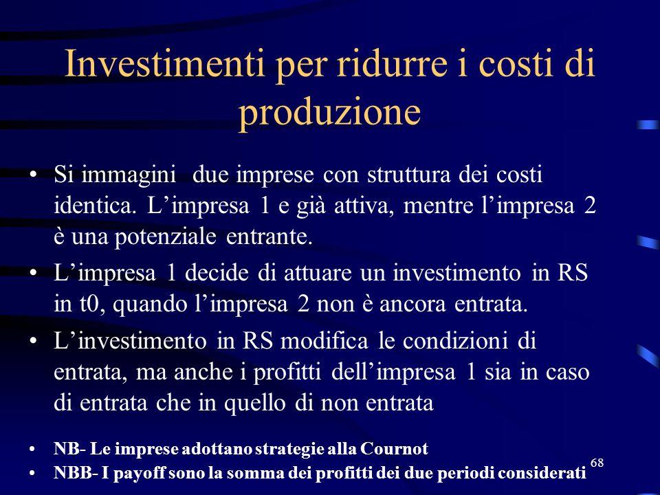 68 Investimenti per ridurre i costi di produzione Si immagini due imprese con struttura dei costi identica. Limpresa 1 e già attiva, mentre limpresa 2