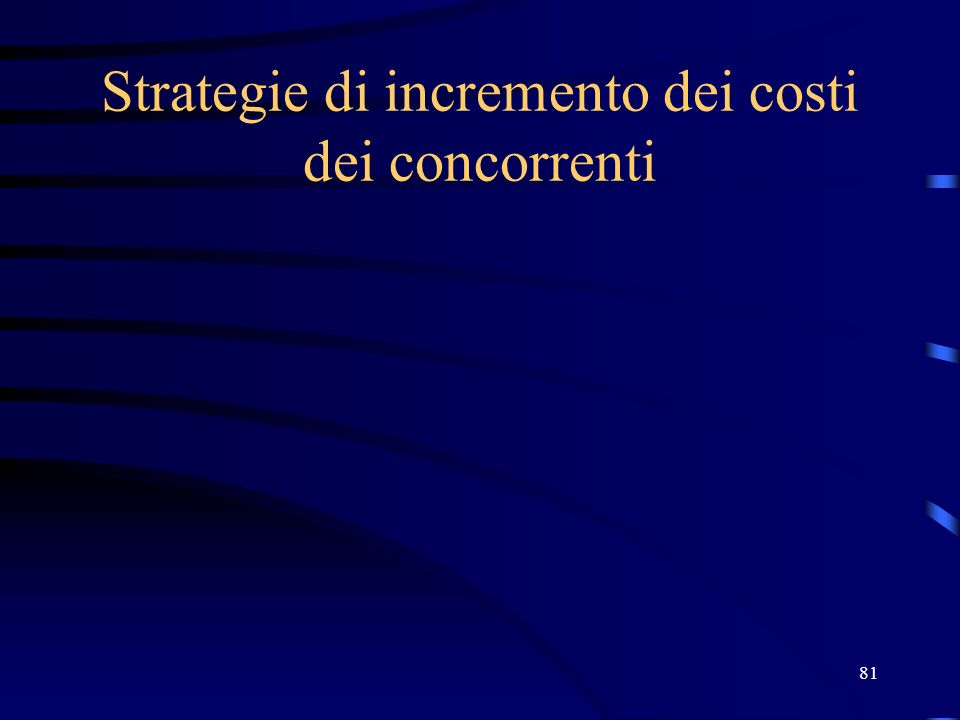 81 Strategie di incremento dei costi dei concorrenti