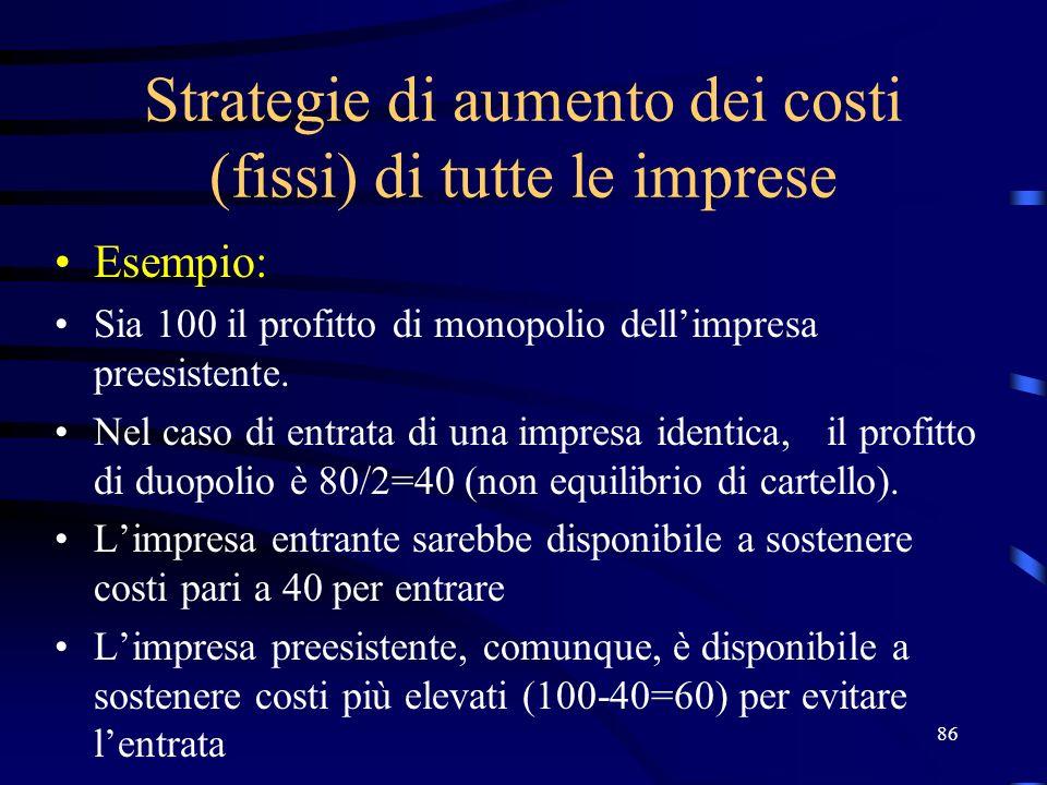 86 Strategie di aumento dei costi (fissi) di tutte le imprese Esempio: Sia 100 il profitto di monopolio dellimpresa preesistente.