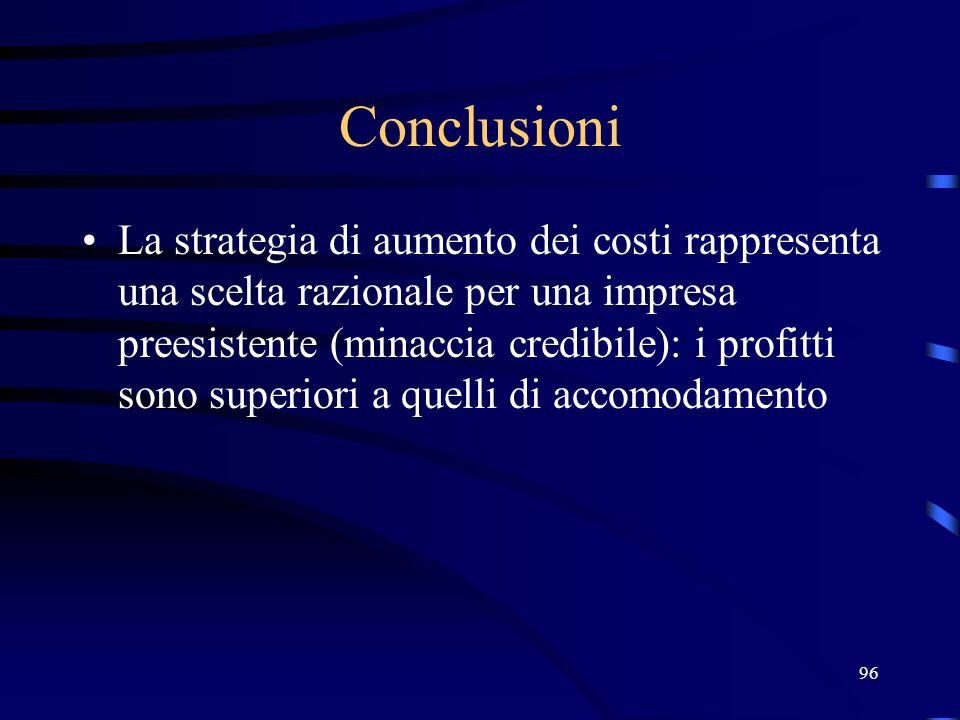 96 Conclusioni La strategia di aumento dei costi rappresenta una scelta razionale per una impresa preesistente (minaccia credibile): i profitti sono s