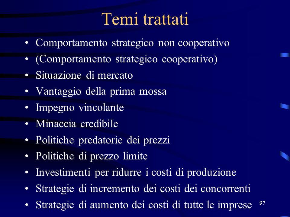 97 Temi trattati Comportamento strategico non cooperativo (Comportamento strategico cooperativo) Situazione di mercato Vantaggio della prima mossa Imp