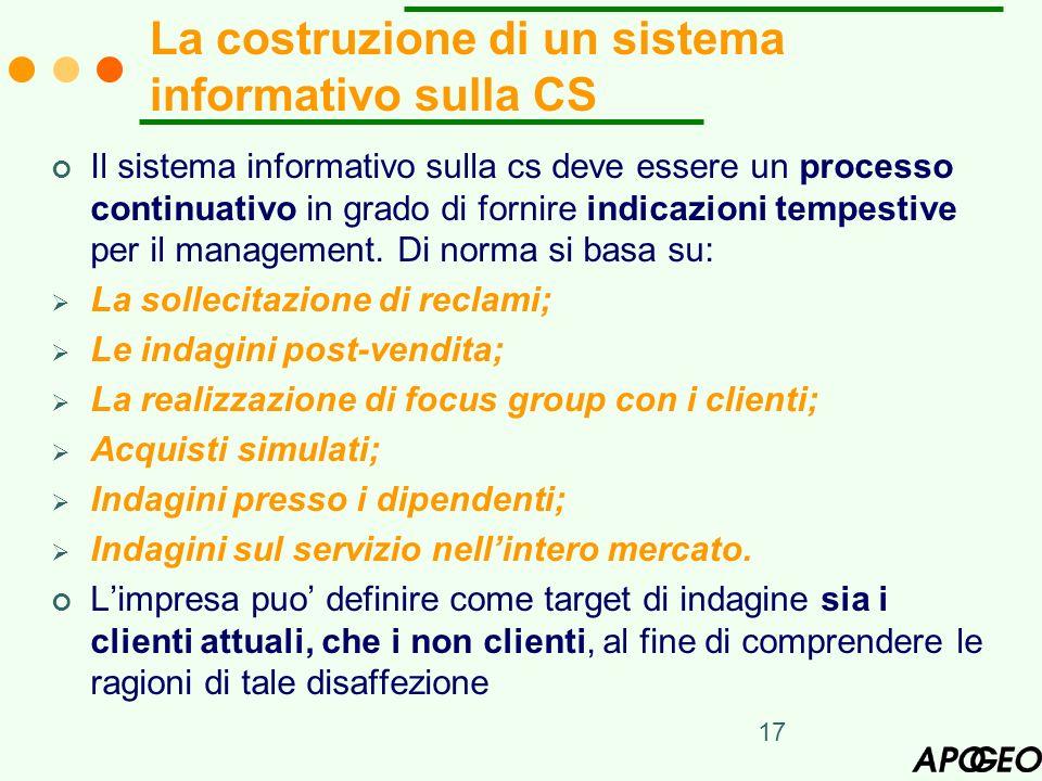 17 La costruzione di un sistema informativo sulla CS Il sistema informativo sulla cs deve essere un processo continuativo in grado di fornire indicazi