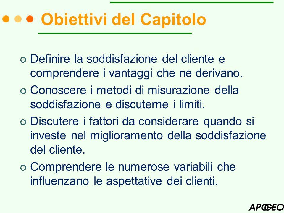 Obiettivi del Capitolo Definire la soddisfazione del cliente e comprendere i vantaggi che ne derivano. Conoscere i metodi di misurazione della soddisf