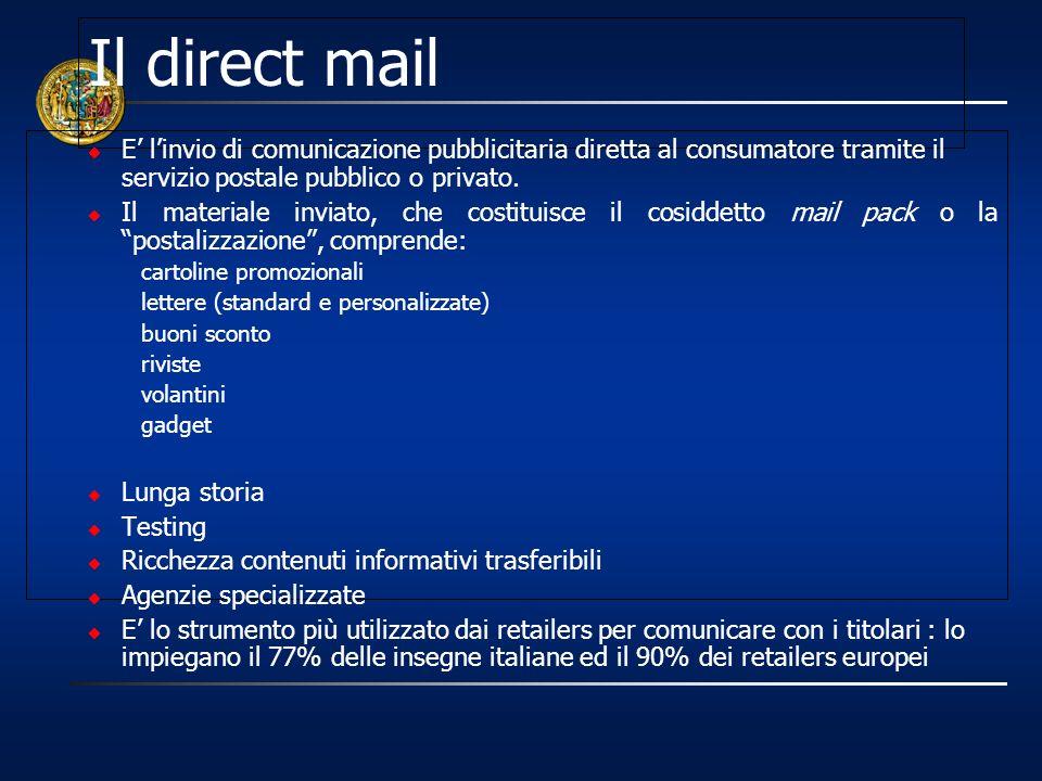 Il direct mail E linvio di comunicazione pubblicitaria diretta al consumatore tramite il servizio postale pubblico o privato. Il materiale inviato, ch
