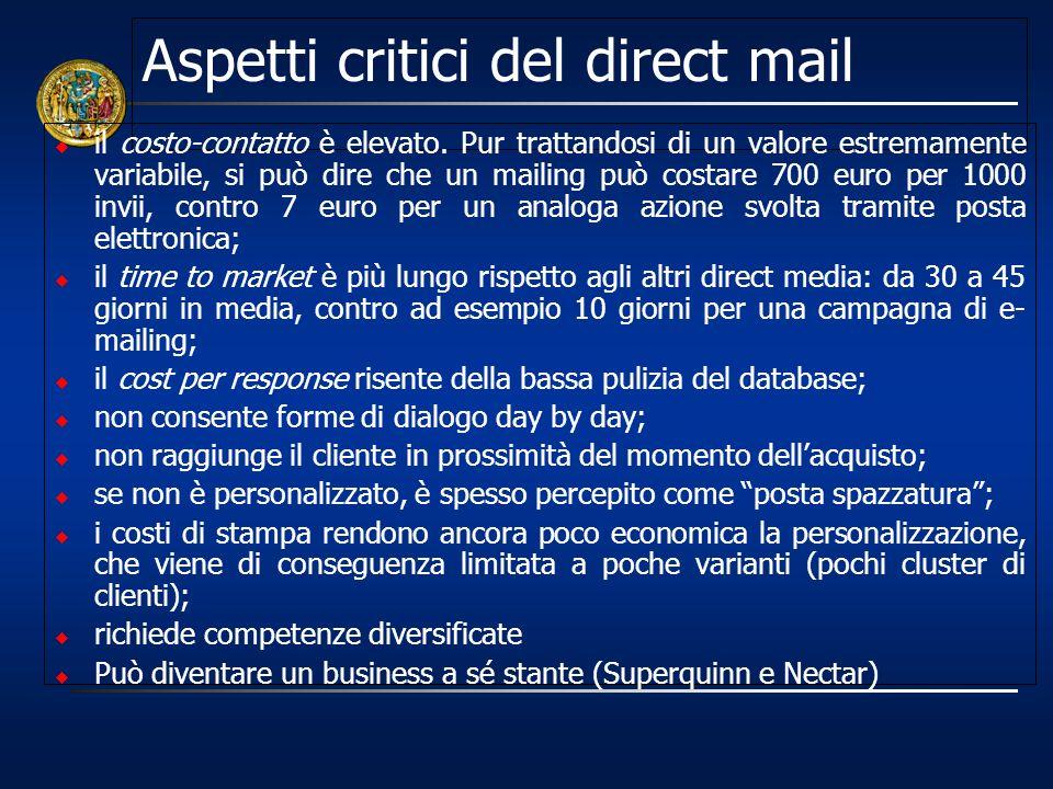 Aspetti critici del direct mail il costo-contatto è elevato. Pur trattandosi di un valore estremamente variabile, si può dire che un mailing può costa