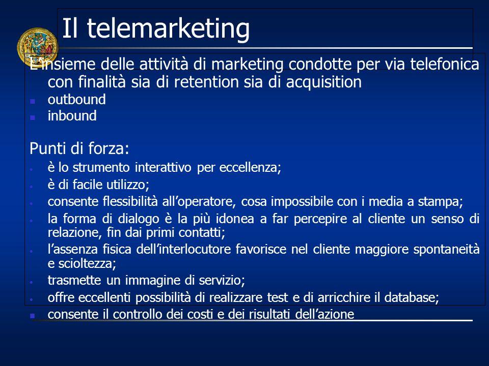 Il telemarketing Linsieme delle attività di marketing condotte per via telefonica con finalità sia di retention sia di acquisition outbound inbound Pu