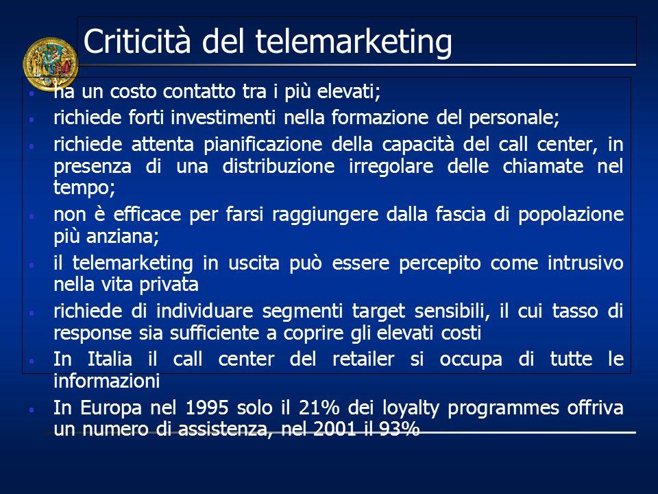 Criticità del telemarketing ha un costo contatto tra i più elevati; richiede forti investimenti nella formazione del personale; richiede attenta piani