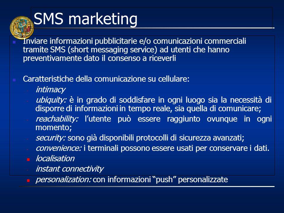 SMS marketing Inviare informazioni pubblicitarie e/o comunicazioni commerciali tramite SMS (short messaging service) ad utenti che hanno preventivamen