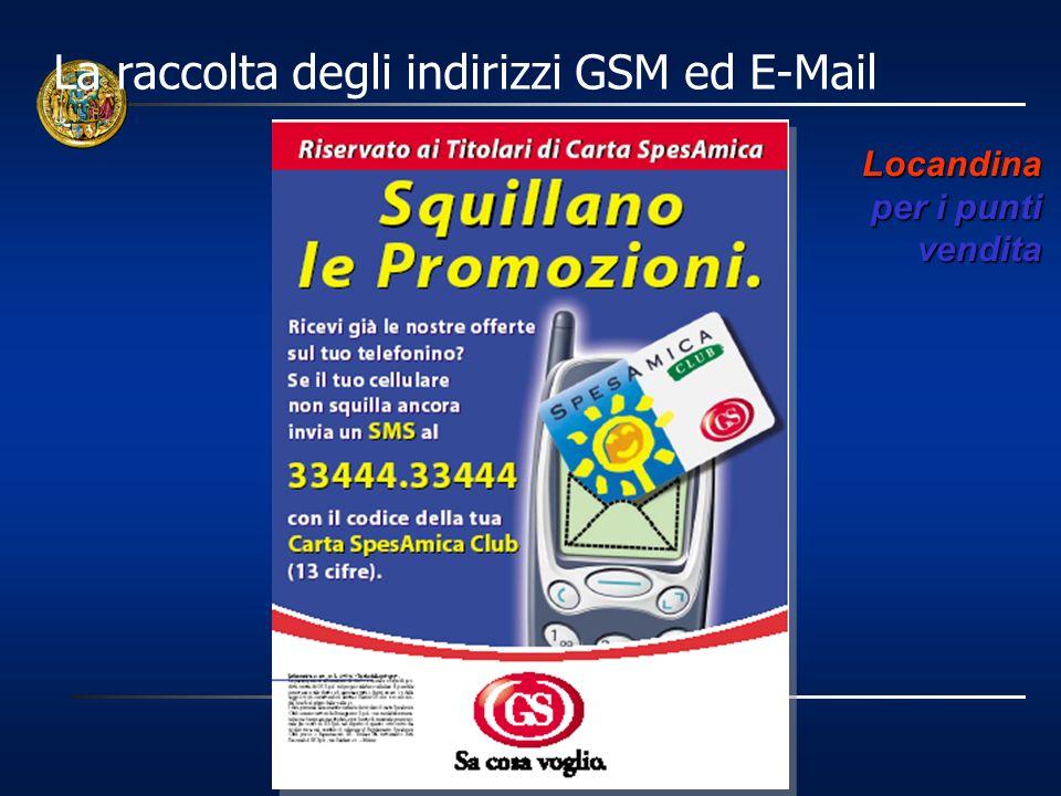 La raccolta degli indirizzi GSM ed E-Mail Locandina per i punti vendita