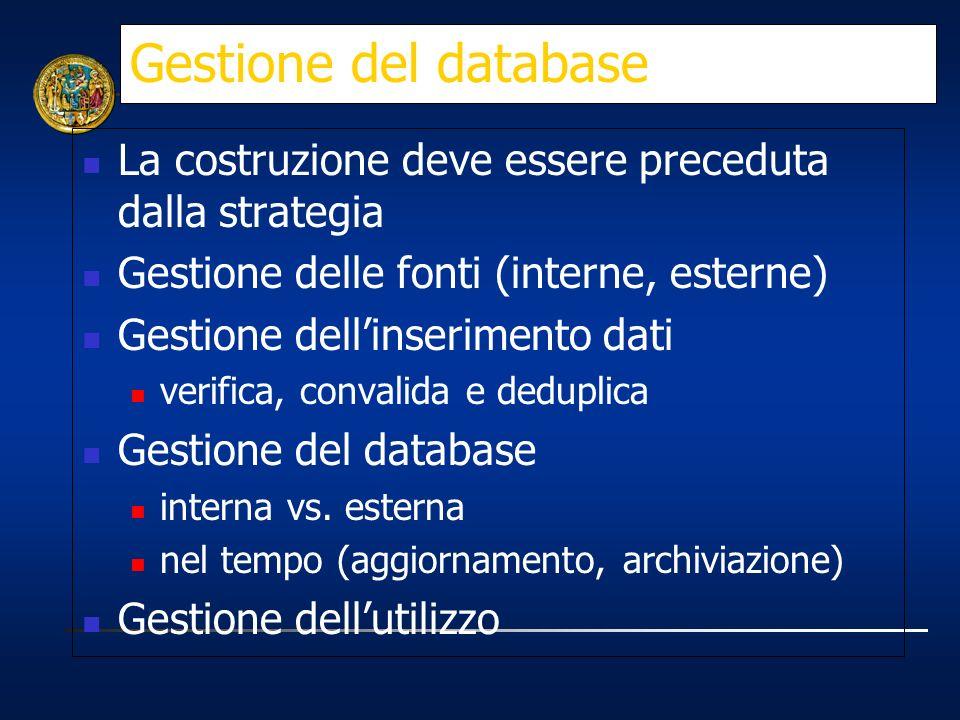 Gestione del database La costruzione deve essere preceduta dalla strategia Gestione delle fonti (interne, esterne) Gestione dellinserimento dati verif
