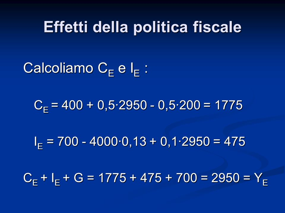 Calcoliamo C E e I E : C E = 400 + 0,5·2950 - 0,5·200 = 1775 I E = 700 - 4000·0,13 + 0,1·2950 = 475 C E + I E + G = 1775 + 475 + 700 = 2950 = Y E Effe