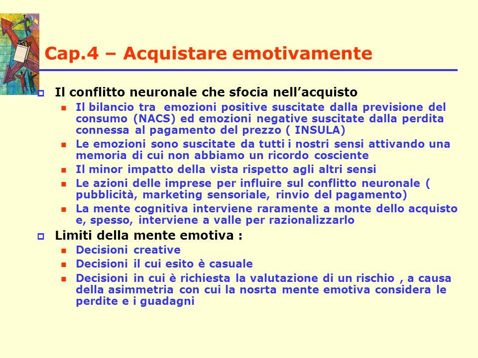 Cap.4 – Acquistare emotivamente Il conflitto neuronale che sfocia nellacquisto Il bilancio tra emozioni positive suscitate dalla previsione del consum