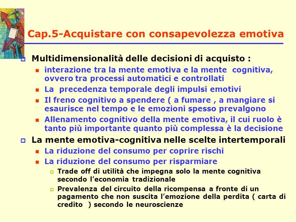 Cap.5-Acquistare con consapevolezza emotiva Multidimensionalità delle decisioni di acquisto : interazione tra la mente emotiva e la mente cognitiva, o