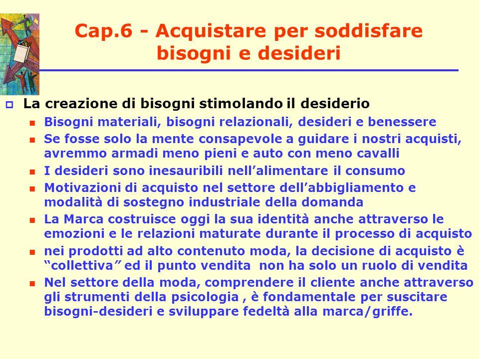 Cap.6 - Acquistare per soddisfare bisogni e desideri La creazione di bisogni stimolando il desiderio Bisogni materiali, bisogni relazionali, desideri