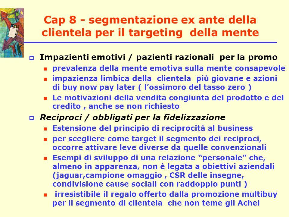 Cap 8 - segmentazione ex ante della clientela per il targeting della mente Impazienti emotivi / pazienti razionali per la promo prevalenza della mente