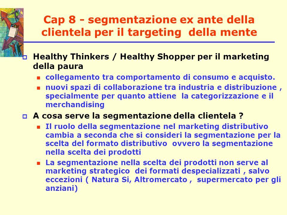 Cap 8 - segmentazione ex ante della clientela per il targeting della mente Healthy Thinkers / Healthy Shopper per il marketing della paura collegament