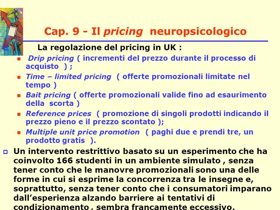 Cap. 9 - Il pricing neuropsicologico La regolazione del pricing in UK : Drip pricing ( incrementi del prezzo durante il processo di acquisto ) ; Time