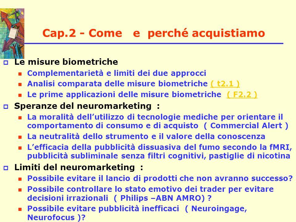 Cap.2 - Come e perché acquistiamo Le misure biometriche Complementarietà e limiti dei due approcci Analisi comparata delle misure biometriche ( t2.1 )