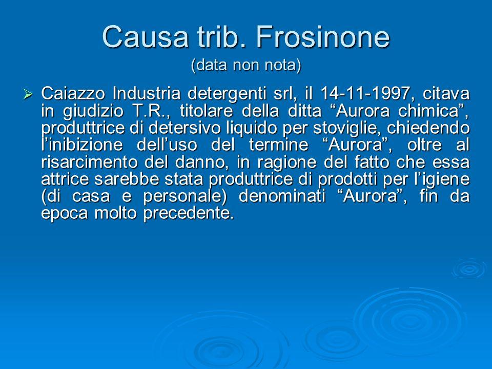 Causa trib. Frosinone (data non nota) Caiazzo Industria detergenti srl, il 14-11-1997, citava in giudizio T.R., titolare della ditta Aurora chimica, p