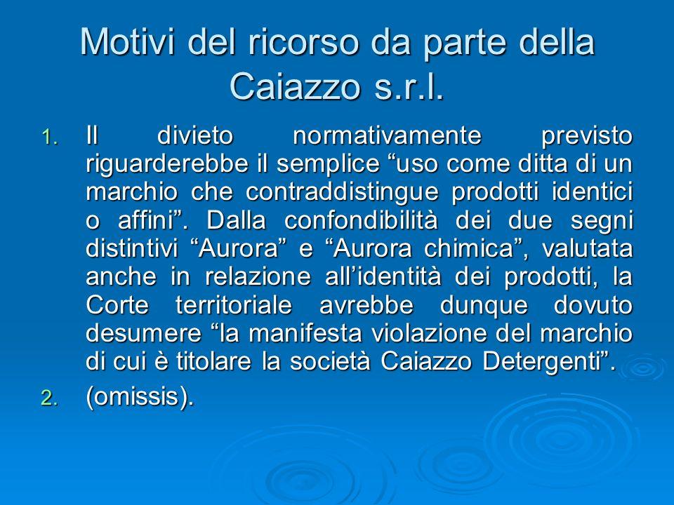 Motivi del ricorso da parte della Caiazzo s.r.l. 1. Il divieto normativamente previsto riguarderebbe il semplice uso come ditta di un marchio che cont