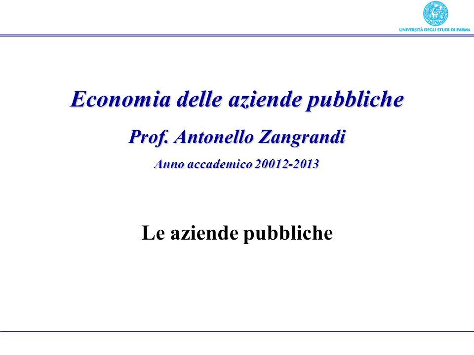 Economia delle aziende pubbliche Prof.