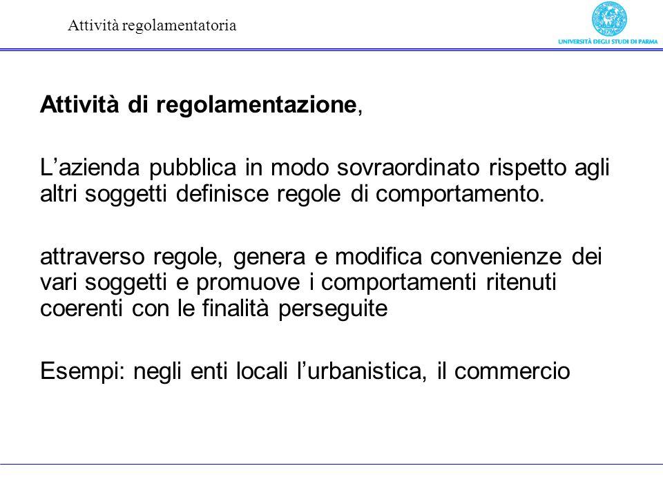 Attività di regolamentazione, Lazienda pubblica in modo sovraordinato rispetto agli altri soggetti definisce regole di comportamento.