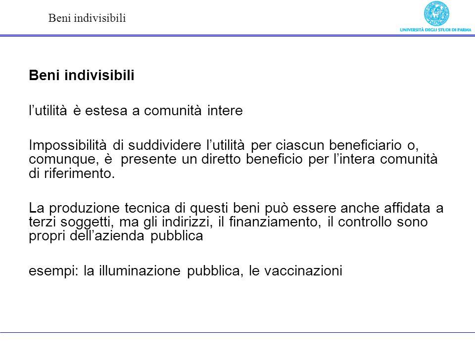Beni indivisibili lutilità è estesa a comunità intere Impossibilità di suddividere lutilità per ciascun beneficiario o, comunque, è presente un diretto beneficio per lintera comunità di riferimento.