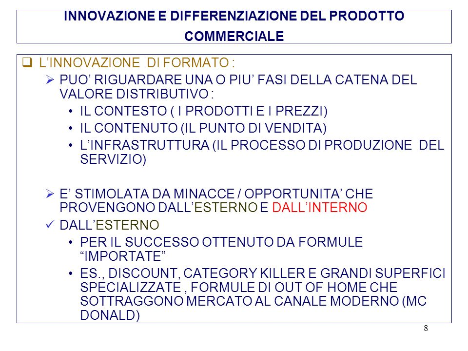 19 Superficie (mq.)400/600 Referenze400/600 Addetti nel punto vendita3/5 Rotazione50/60 Quota generics e marche in esclusiva di insegna/area90/95 Prevalente differenza prezzi30/60 Fatturato (milioni di euro)3-4 Scontrino medio (euro) 15 (35 in Italia nella fase di introduzione) Margine operativo (% vendite)15 Costi di punto vendita (% vendite ) (di cui costo del lavoro 4,5%) 7 Costi Centrale/Cedi (% vendite)3 Utile operativo (% vendite)5 Fonte: Kwik Save, 1992 Hard Discount: standard tecnici ed economici