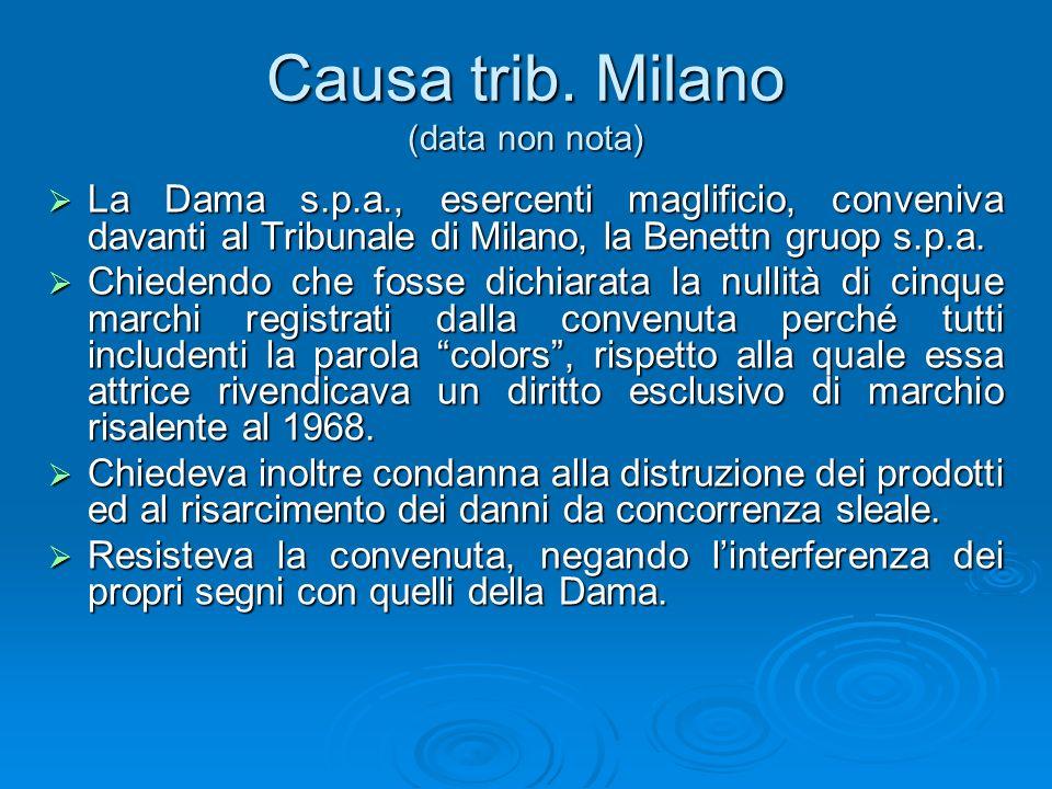 Causa trib. Milano (data non nota) La Dama s.p.a., esercenti maglificio, conveniva davanti al Tribunale di Milano, la Benettn gruop s.p.a. La Dama s.p