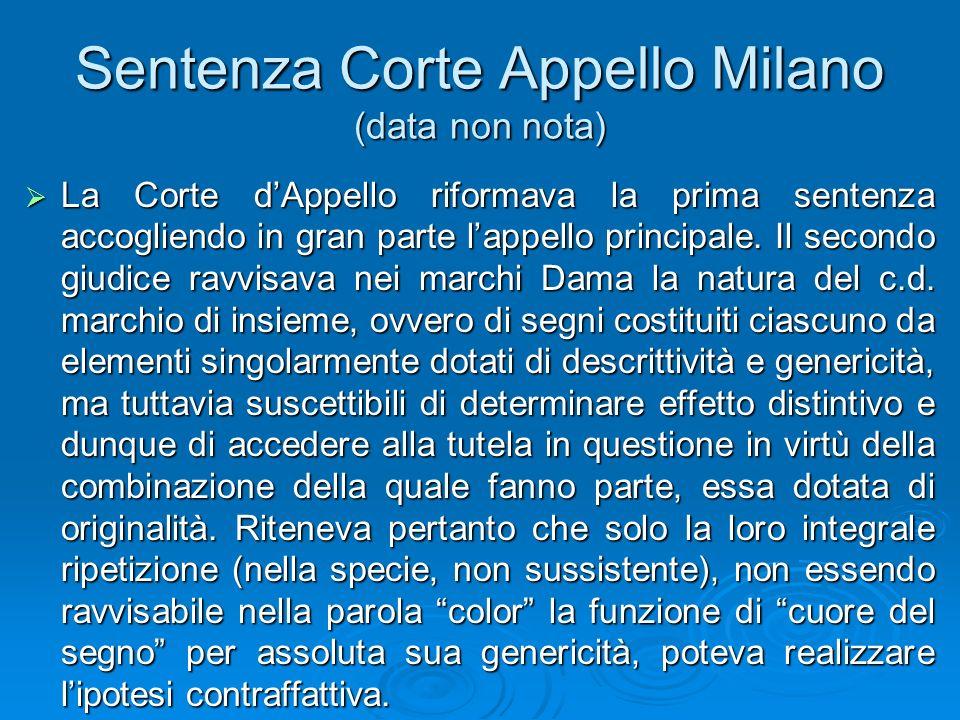 Sentenza Corte Appello Milano (data non nota) La Corte dAppello riformava la prima sentenza accogliendo in gran parte lappello principale. Il secondo