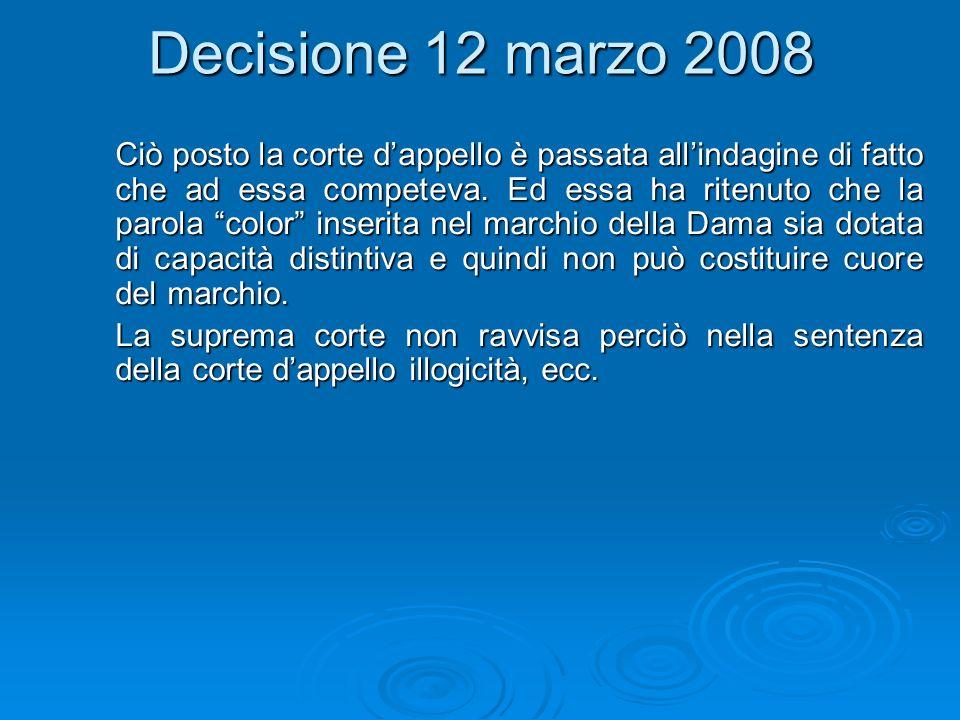 Decisione 12 marzo 2008 Ciò posto la corte dappello è passata allindagine di fatto che ad essa competeva.